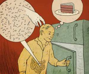 Cartoon of our gut bacteria influencing our cravings